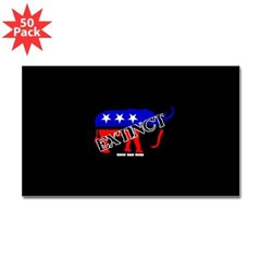 Extinct Republican Rectangle Decal 50 Pack