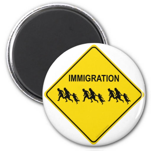 Immigration Crossing Fridge Magnet