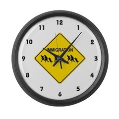 Immigration Crossing Large Wall Clock