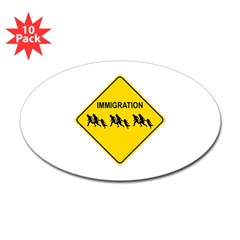 Immigration Crossing Oval Decal 10 Pack