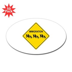 Immigration Crossing Oval Decal 50 Pack