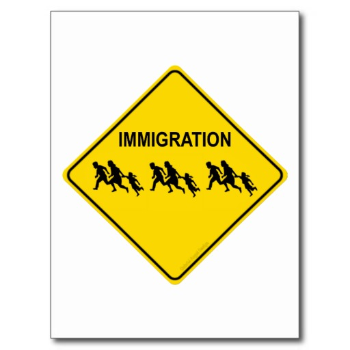 Immigration Crossing Postcard