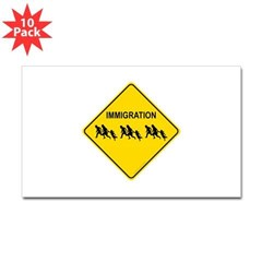 Immigration Crossing Rectangle Decal 10 Pack