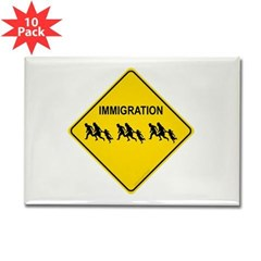 Immigration Crossing Rectangle Magnet (10 pack)