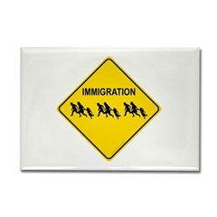 Immigration Crossing Rectangle Magnet