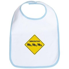 Immigration Crossing Road Sign Baby Bib
