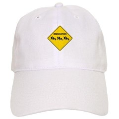 Immigration Crossing Road Sign Baseball Cap