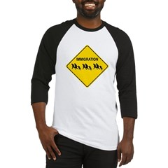 Immigration Crossing Road Sign Baseball Jersey T-Shirt