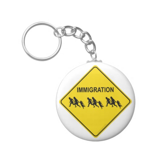 Immigration Crossing Road Sign Basic Button Keychain
