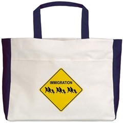 Immigration Crossing Road Sign Beach Tote Bag