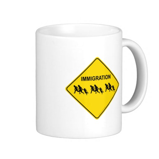 Immigration Crossing Road Sign Classic White Mug