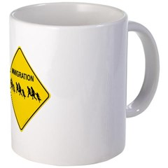 Immigration Crossing Road Sign Coffee Mug
