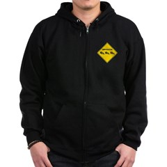 Immigration Crossing Road Sign Dark Zip Hoodie