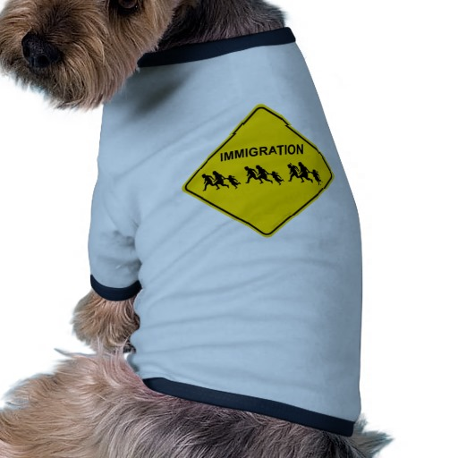 Immigration Crossing Road Sign Doggie Ringer T-Shirt