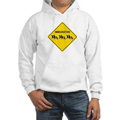 Immigration Crossing Road Sign Hooded Sweatshirt