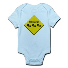 Immigration Crossing Road Sign Infant Bodysuit