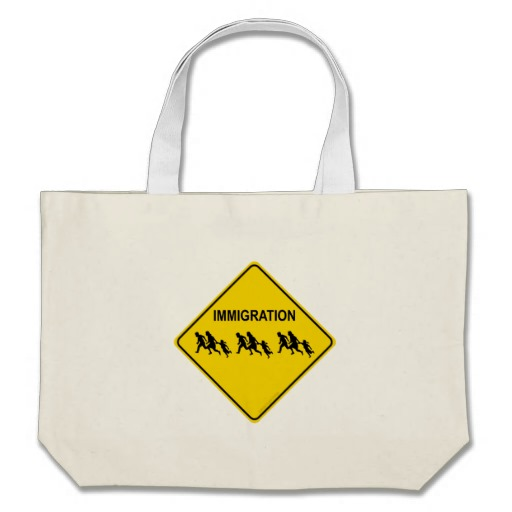 Immigration Crossing Road Sign Jumbo Tote