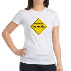 Immigration Crossing Road Sign Junior Jersey T-Shirt