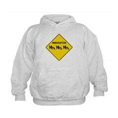 Immigration Crossing Road Sign Kids Sweatshirt by Hanes