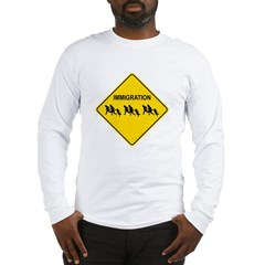 Immigration Crossing Road Sign Long Sleeve T-Shirt