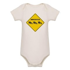 Immigration Crossing Road Sign Organic Baby Bodysuit
