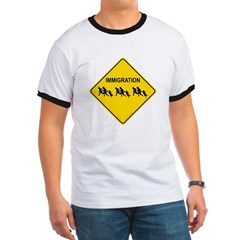 Immigration Crossing Road Sign Ringer T-Shirt