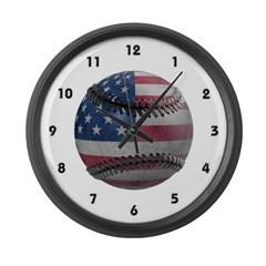 USA Baseball Large Wall Clock