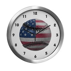 USA Baseball Modern Wall Clock