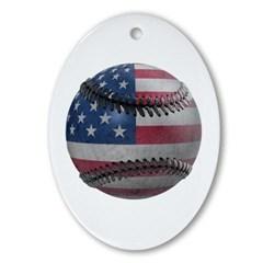 USA Baseball Oval Ornament