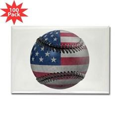 USA Baseball Rectangle Magnet (100 pack)
