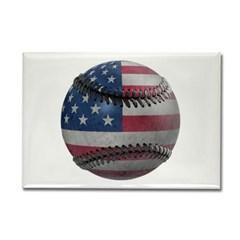 USA Baseball Rectangle Magnet