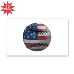 USA Baseball Rectangle Sticker 10 pk)
