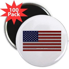 """American Cloth Flag 2.25"""" Magnet (100 pack)"""