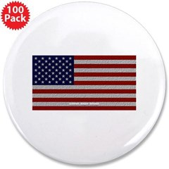 """American Cloth Flag 3.5"""" Button (100 pack)"""