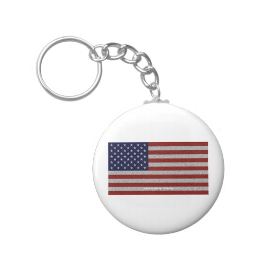 American Cloth Flag Basic Button Keychain