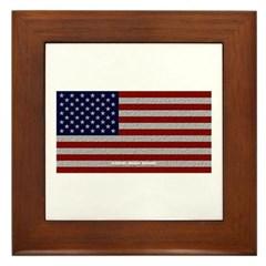 American Cloth Flag Framed Tile
