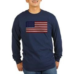 American Cloth Flag Long Sleeve Dark T-Shirt