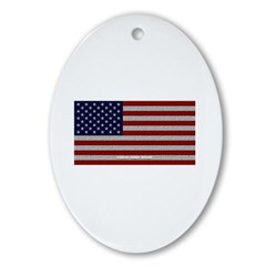 American Cloth Flag Oval Ornament