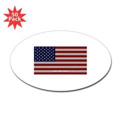 American Cloth Flag Oval Sticker (50 pk)