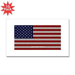 American Cloth Flag Rectangle Sticker 10 pk