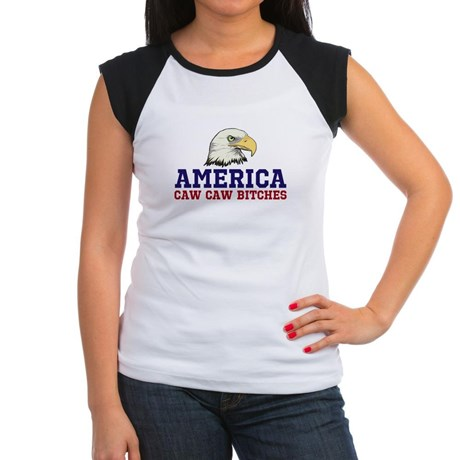 AMERICA Caw Caw Bitches Junior's Cap Sleeve T-Shirt