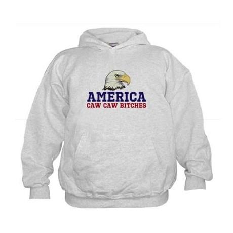 AMERICA Caw Caw Bitches Kids Sweatshirt by Hanes