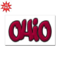 Ohio Graffiti Rectangle Decal 10 Pack
