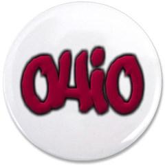 """Ohio State Graffiti Style Lettering 3.5"""" Button"""