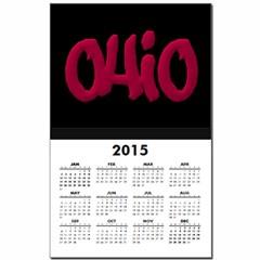 Ohio State Graffiti Style Lettering Calendar Print