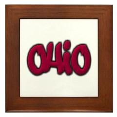 Ohio State Graffiti Style Lettering Framed Tile
