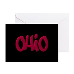 Ohio State Graffiti Style Lettering Greeting Card