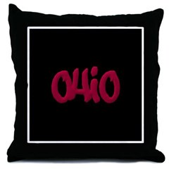 Ohio State Graffiti Style Lettering Throw Pillow