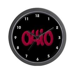 Ohio State Graffiti Style Lettering Wall Clock