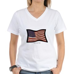USA Flag Graffiti Women's V-Neck T-Shirt